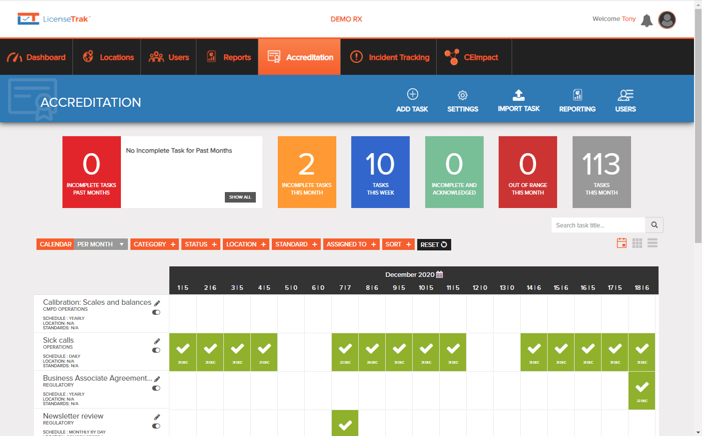 Accreditation Management System Dashboard